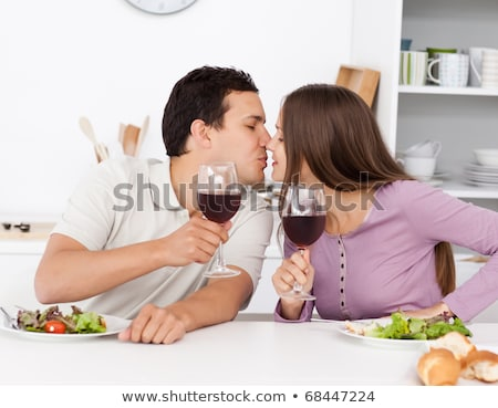 çift tost yeme salata mutfak adam Stok fotoğraf © wavebreak_media