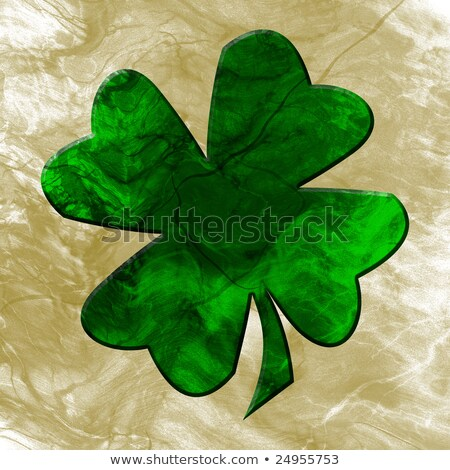Green Four Leaved Shamrock In Old Paper Background Photo stock © Fenton