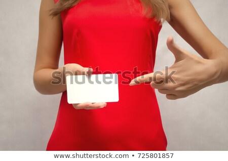 Nő tart névjegy mutat egyéb kéz Stock fotó © grasycho