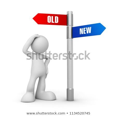 3次元の人々 · 道路標識 · 古い · 生活 · 新生活 · 白 - ストックフォト © Quka