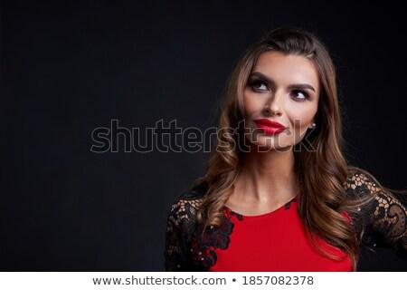 mulher · vestido · vermelho · cara · beleza - foto stock © wavebreak_media