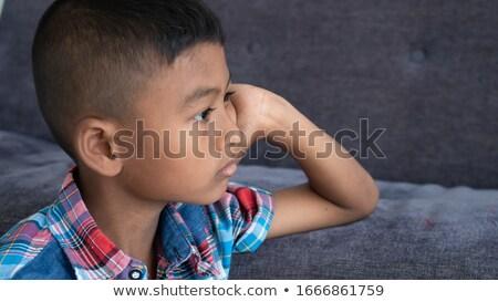 üzücü · Asya · erkek · bakıyor · profil · görmek - stok fotoğraf © KMWPhotography