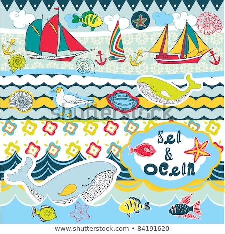 Bateau mer plage lumineuses jaune bleu Photo stock © tlorna