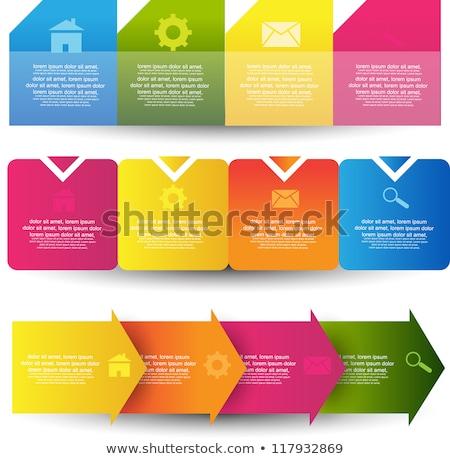 Vektör renkli ok etiketler kâğıt yeşil Stok fotoğraf © vitek38