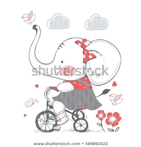 少女 · 赤ちゃん · ライディング · 象 · 画像 · 詰まった - ストックフォト © cteconsulting