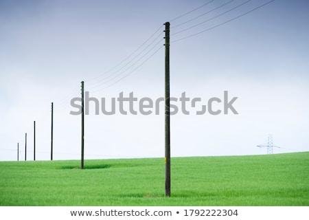 elektromos · transzformátor · kék · ég · fehér · felhők · technológia - stock fotó © dinozzaver