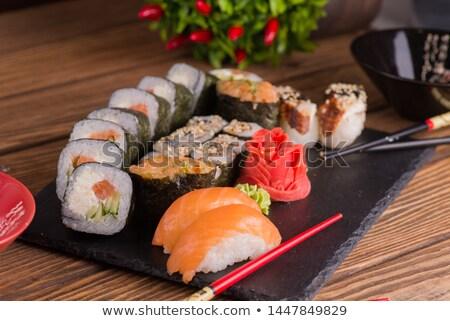 Geleneksel Japon yemek kare plaka siyah Stok fotoğraf © doupix