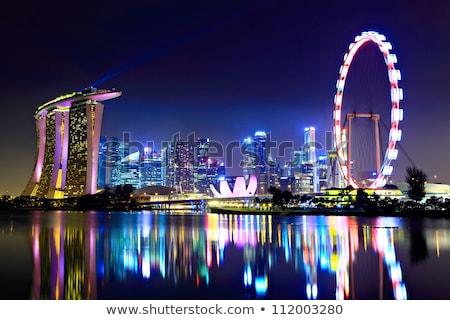 ночь Сингапур берег реки вечер бизнеса небе Сток-фото © joyr