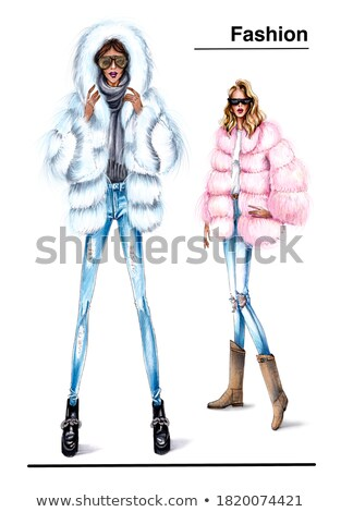 Trendy outfit of young blonde girl Stock photo © konradbak