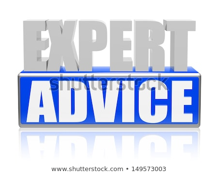 expert advise in blue white banner - letters and block Stock photo © marinini