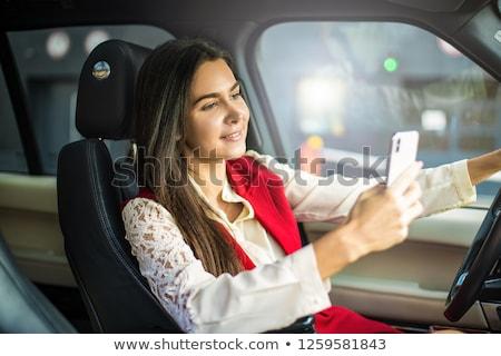 Frau sms schöne Frau Sofa Mobiltelefon Stock foto © iko