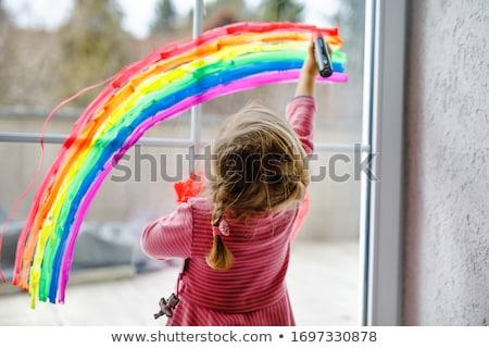 çocuklar gökkuşağı el ele tutuşarak aile eller el Stok fotoğraf © mintymilk