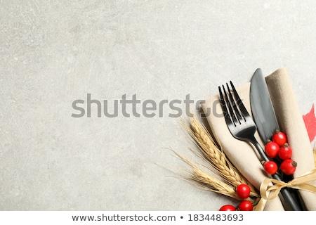 ünnep asztal díszítések gyertya tányér karácsony Stock fotó © MKucova