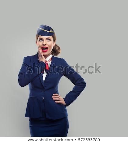 légi · utaskísérő · gyönyörű · tábla · nagy · repülőgép · mosoly - stock fotó © elnur