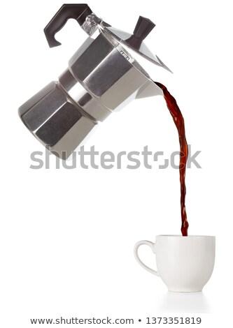 Friss főzet áramló kávé edény csésze Stock fotó © lightkeeper