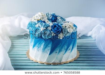 Bolo glacê flor pormenor comida casamento Foto stock © hanusst