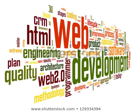 Háló fejlesztés szófelhő szó piros szín Stock fotó © tashatuvango