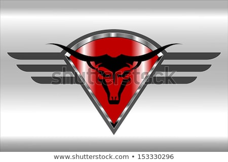 Bull Icon on the red winged diamond shield Stock photo © HunterX