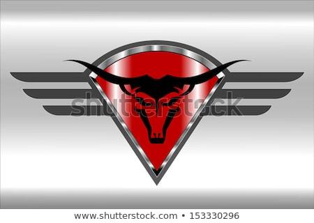 stier · icon · Rood · diamant · schild - stockfoto © HunterX