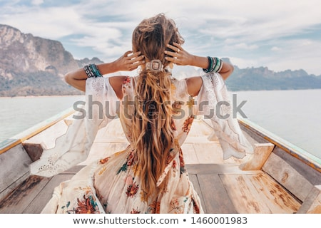 Güzel kız tropikal tatil plaj kız seksi Stok fotoğraf © JackyBrown