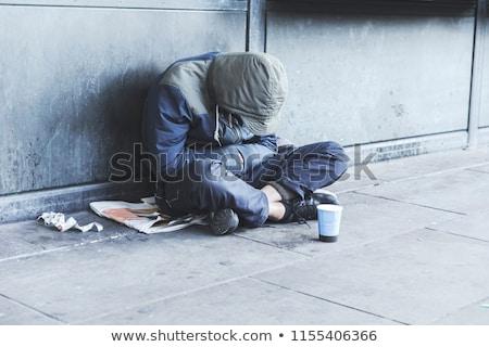 Hajléktalan férfi pénz kéz szomorú városi Stock fotó © c-foto