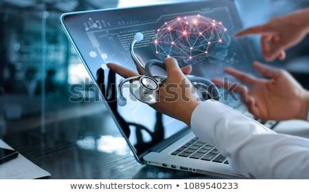 Cervello esame medici simbolo lente di ingrandimento Foto d'archivio © Lightsource