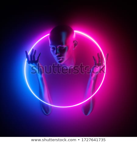 abstract background with frame round rays spectrum Stock photo © yurkina