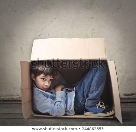 мало мальчика внутри окна белый бизнеса Сток-фото © EwaStudio