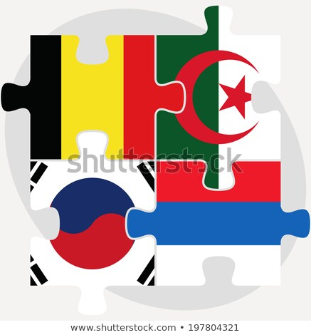 Belgian, Algerian, Russian and South Korean Flags in puzzle isol Stock photo © Istanbul2009