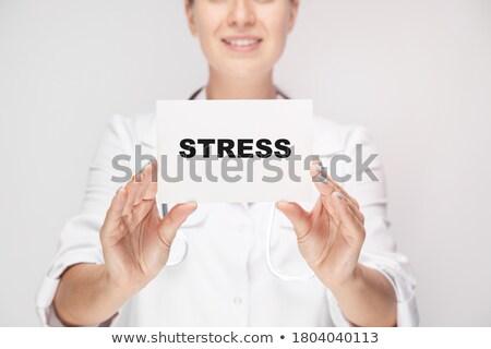 Stock fotó: Női · orvos · szabad · felirat · közelkép · portré