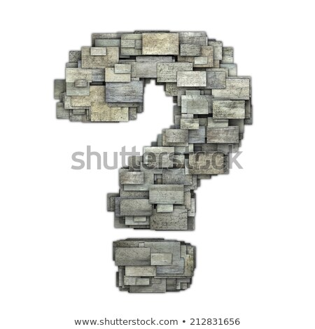 3d tiled timber question mark shape on white Stock photo © Melvin07