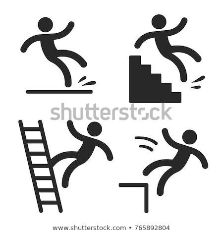 Falling hazard sign Stock photo © michaklootwijk