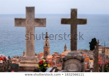 Begraafplaats landschap kruis kerk triest steen Stockfoto © Dar1930