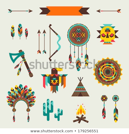 set icons objects american indians vector illustration stock photo © konturvid