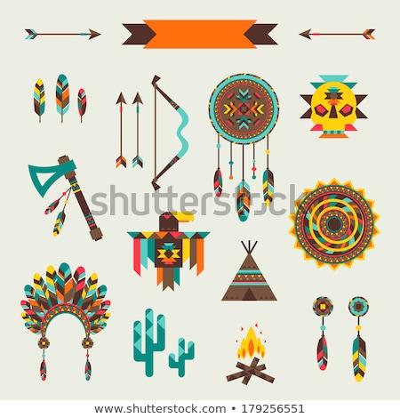set icons objects american indians vector illustration Stock photo © konturvid
