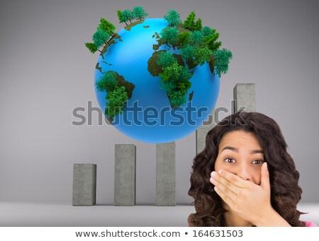 morena · mulher · em · pé · sorridente · branco · feliz - foto stock © wavebreak_media