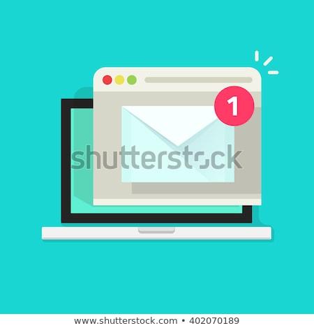 Online News on Blue Background in Flat Design. Stock photo © tashatuvango