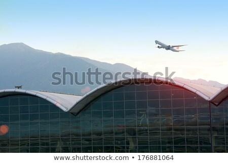 fény · helikopter · repülés · repülés · felhős · égbolt - stock fotó © joyr