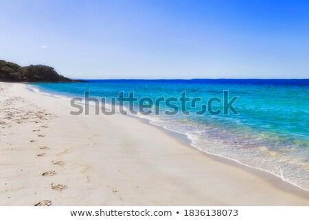 Lábnyomok fehér homok tengerpart perem tenger természet Stock fotó © Mikko