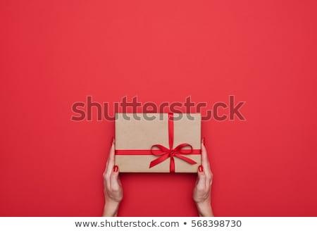 Rouge coffret cadeau au-dessus blanche ruban Photo stock © tamasvargyasi