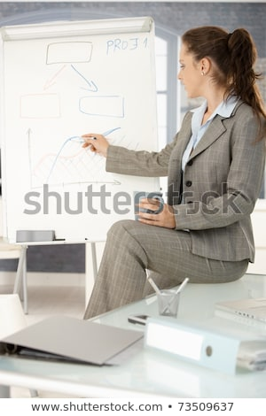 Photo stock: Femme · d'affaires · dessin · isolé · blanche · affaires