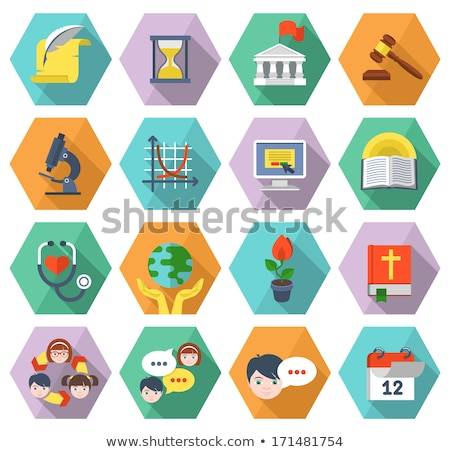 flat educational icons of different subjects in hexagons Stock photo © vectorikart