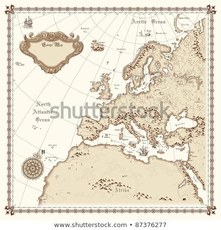 klasszikus · térkép · Afrika · ősi · textúra · tenger - stock fotó © artjazz