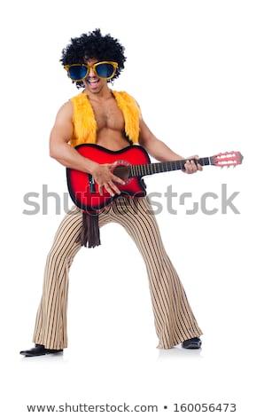 gitáros · izolált · fehér · nő · boldog · gitár - stock fotó © elnur