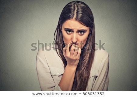 Mujer hermosa pánico azul mujer sexy ojos Foto stock © PetrMalyshev