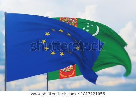 Európai szövetség Türkmenisztán zászlók puzzle izolált Stock fotó © Istanbul2009