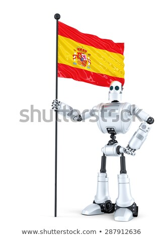 android robot standing with flag of spain isolated contains clipping path stock photo © kirill_m