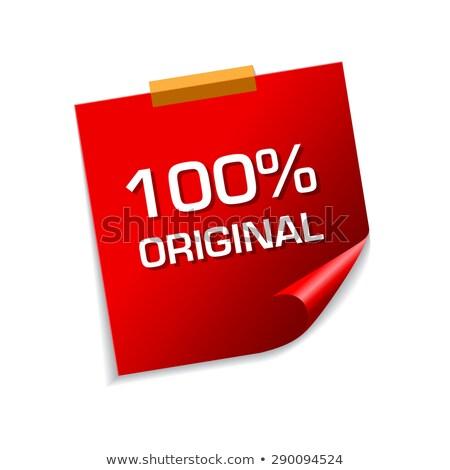 100 százalék eredeti piros cetlik vektor Stock fotó © rizwanali3d