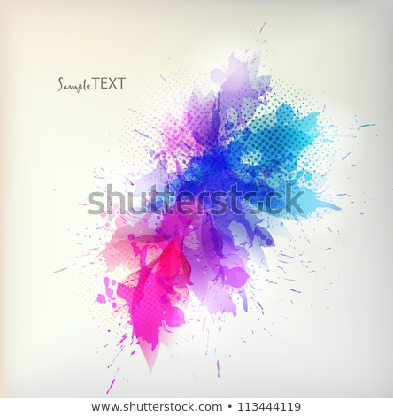 abstract colorful background with wave and watercolor flowers stock photo © elmiko