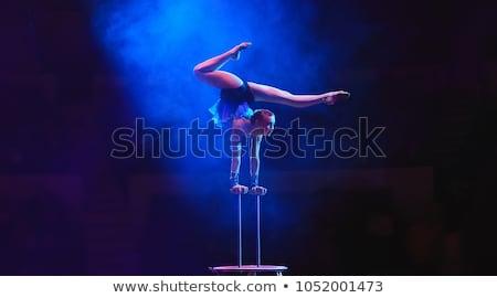 Akrobata młodych brunetka zawieszony fioletowy tkaniny Zdjęcia stock © disorderly